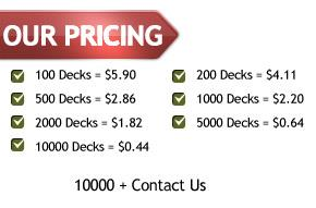 playing cards pricing
